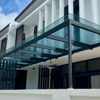 Galvanized Metal Canopy with Tempered Glass
