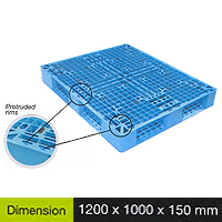 Plastic Pallet Light Duty Series Dimension 1200 X 1000 X 150 Mm