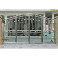 Stailess Steel Main Gate With Glass